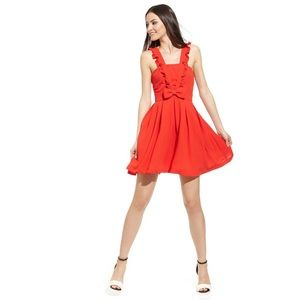 Minuet Red Ruffle & Bow Pinafore Holiday Dress